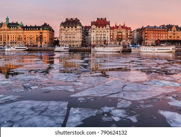 Winter image with ice on the bay in Stockholm city.