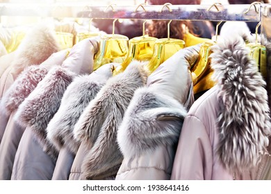 Winter jackets with grey fur collars in the clothing store