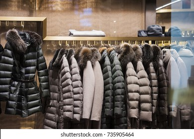 Winter jackets in a store in Milan