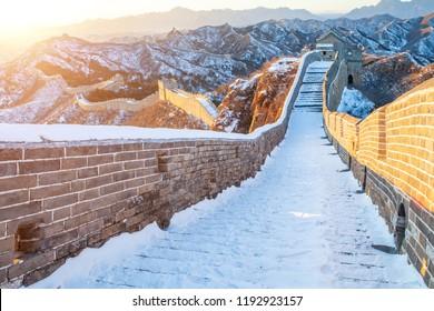 Winter Jinshanling Great Wall Snow Scene