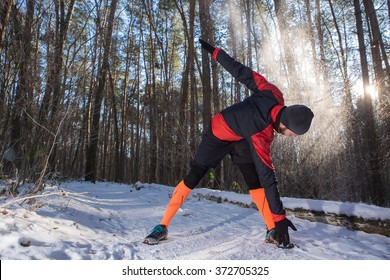 Winter jogging, running in the snow