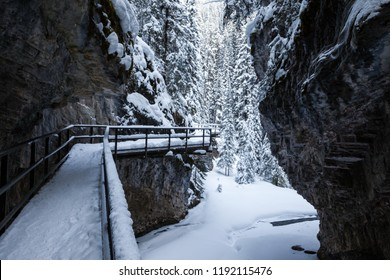 Winter in Johnston Canyon in Banff National Park, Alberta, Canada