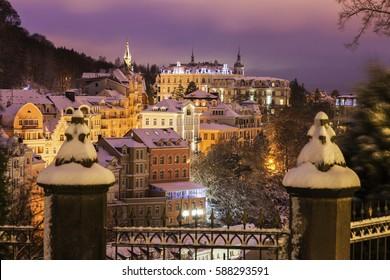 Winter in Karlovy Vary. Karlovy Vary (Carlsbad), Bohemia, Czech Republic.