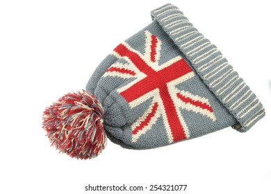 Winter Knitted Wool Ski Hat With UK Flag Pattern Isolated On White  Background 4bf214444099