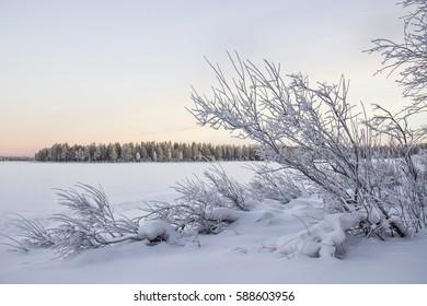 Winter lake. Finland. Ruka.