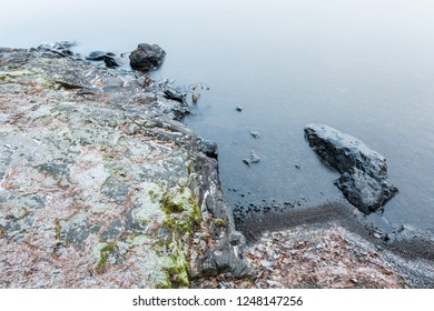 Winter lake shore nature landscape close view