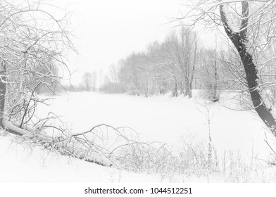 winter lake with snow covered banks