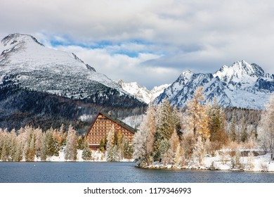 The winter lake Strbske Pleso in the high Tatras Mountains in Slovakia