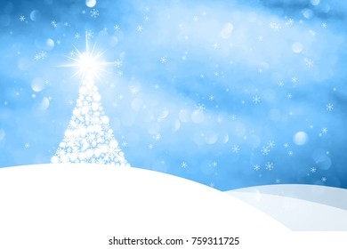 Winter landscape with abstract hills, Christmas tree and sparkle. Happy New year greeting card copy space illustration.