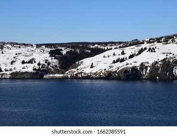 Winter landscape along the Killick Coast, Torbay Tappers Cove Newfoundland and Labrador; Canada