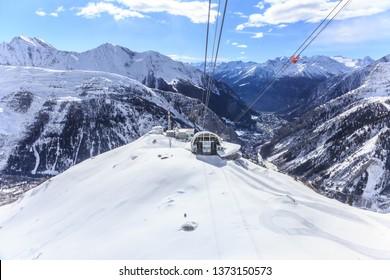 Winter landscape in Alps, Courmayeur, Aosta Valley, Italy