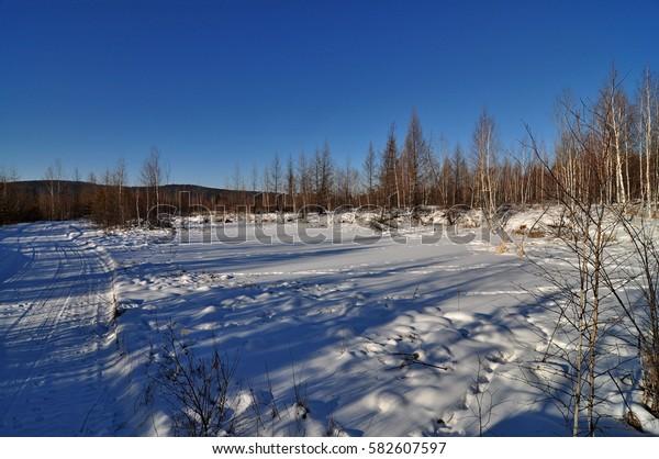 Winter landscape. Amur region. Russia.