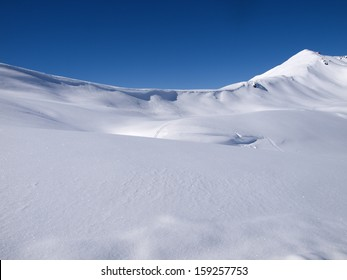 Winter landscape background high in the alps