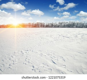 winter landscape background of snow and sky