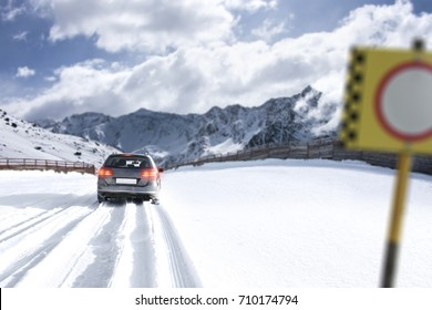 winter landscape and car in snow