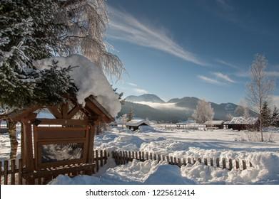 Winter landscape in Carinthia - Lake Weissensee, Austria