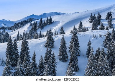 winter landscape in the Carpathian Mountains. Ciucas Mountains, Romania