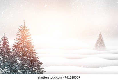 Winter landscape chrismas tree with snowy fir trees soft background