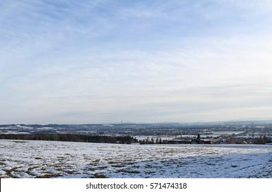 Winter landscape city view on Ceske Budejovice