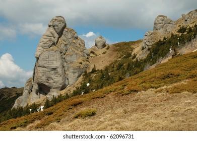 Winter landscape in the Ciucas mountains. Carpathians, Romania