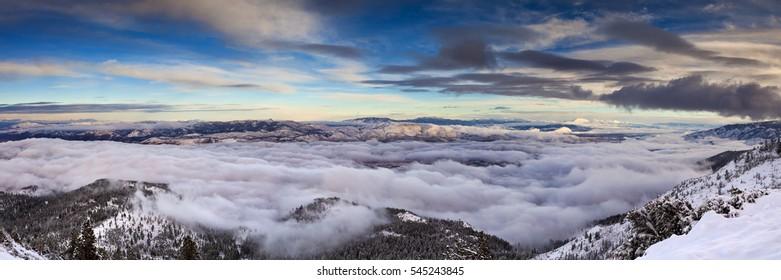 Winter landscape with cloud inversion.  Reno, Nevada