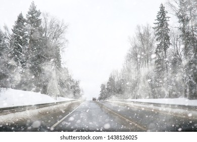 Winter landscape of country fields and roads in the snow