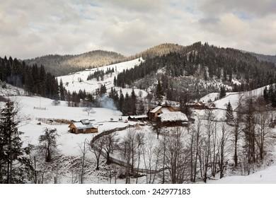 Winter landscape from countryside of Bukovina, Romania