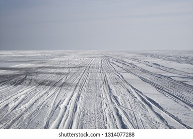 Winter landscape. The Curonian Lagoon is frozen. Ice is snowy. Snowmobile tracks in the snow. Nida Town, Curonian Spit, Neringa, Lithuania.