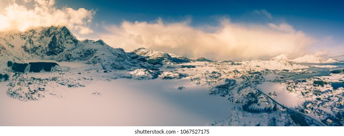 Winter landscape with deep blue sky and contrasty white clouds