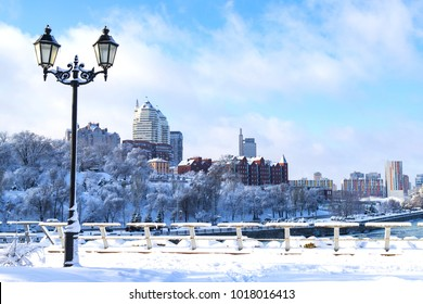 Winter landscape of the Dnipro city, covered with snow and hoarityfrost. View of the buildings,  skyscrapers  and    towers from the Monastery Island. Ukraine (Dnepropetrovsk, Dnepr, Dnipropetrovsk)