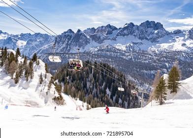 Winter landscape in Dolomites at Cortina D'Ampezzo ski resort, Italy