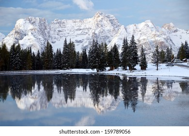 Winter landscape in the Dolomites, Italy, Europe