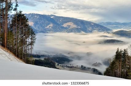Winter landscape in Dolomites at Plan de Corones (Kronplatz) ski resort, Italy