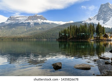 Winter landscape of Emerald Lake with Rocky mountain in Yoho National Park, British Columbia, canada