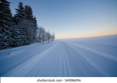 A winter landscape in Erzgebirge, Saxony