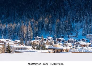Winter Landscape of famous Alpine ski resort DAVOS, SWITZERLAND.