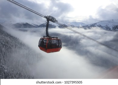 Winter landscape with a fantastic panoramic view from the gondola over the rocky mountains