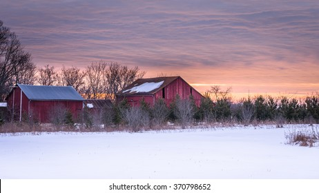 Winter Landscape at a Farm in Wisconsin at Sunrise