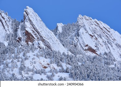 Winter landscape of the Flatirons at dawn, Rocky Mountains, Boulder, Colorado, USA