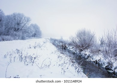 Winter landscape with a forest river. Nature in the vicinity of Pruzhany, Brest region