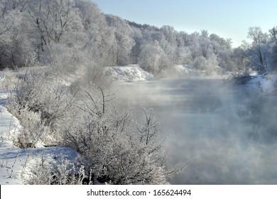 winter landscape frosty day on the river Zai