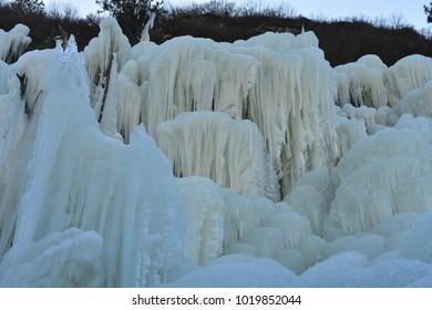 Winter landscape frozen waterfalls