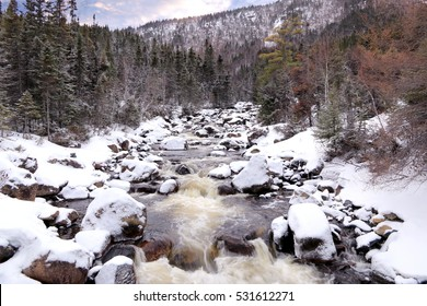 Winter landscape in Gaspesie National Park (Parc national de la Gaspesie), Quebec, Canada . It is a provincial park located south of the town of Sainte-Anne-des-Monts.