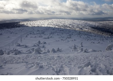 Winter landscape. Giant Mountains  Krkonose, Poland, Europe.