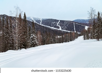 Winter landscape in Gornaya Shoria. Russia, Kemerovo region, Sheregesh ski resort, sector E. Freeride.