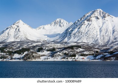 Winter landscape of Grytoya, an island situated in Northern Norway.