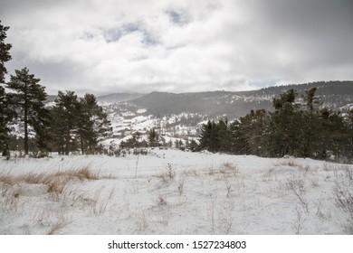 Winter landscape Gudar mountains Teruel Aragon Spain