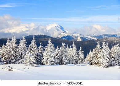 Winter landscape with high mountains. The sky with beautiful clouds and sun rays. Path is trampled through the snowdrift. Great rest for tourist. Location place Carpathians, Europe, Ukraine.