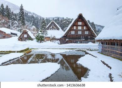 Winter landscape of The historic villages of Shirakawa-go and Gokayama. Beautiful view of snow winter. Landmark and popular for tourist. Gifu. Japan. Asia.