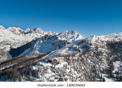 Winter landscape, holidays in Valtellina. Italian Alps, Europe.